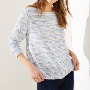LOFT NWT Blue Boucher Bubble Hem Sweatshirt